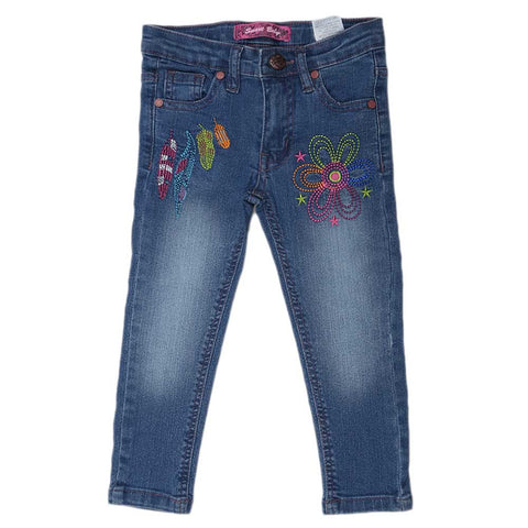 Girls Denim Embroidery Pant - Blue
