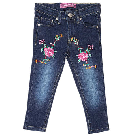 Girls Denim Embroidery Pant - Dark Blue