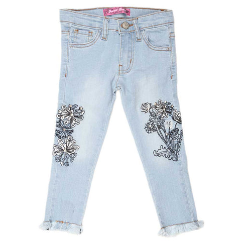 Girls Denim Embroidery Pant - Light Blue