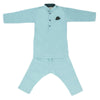 Boys Embroidered Kurta Pajama - Cyan