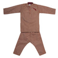 Boys Embroidered Kurta Pajama - Brown