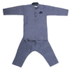 Boys Embroidered Kurta Pajama - Navy Blue