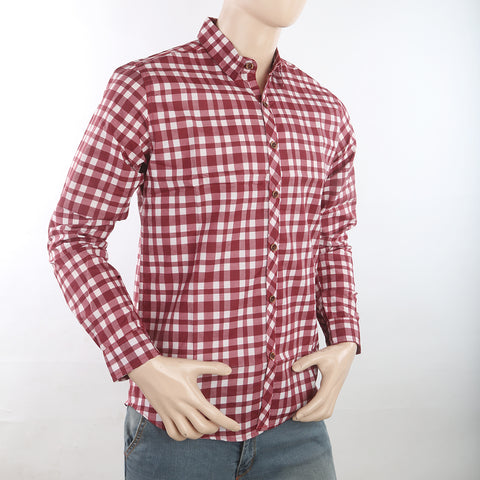 Men's Casual Check Shirt - Maroon