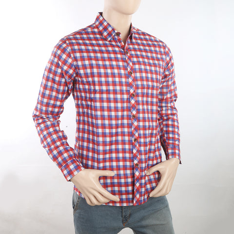 Men's Casual Check Shirt - Red