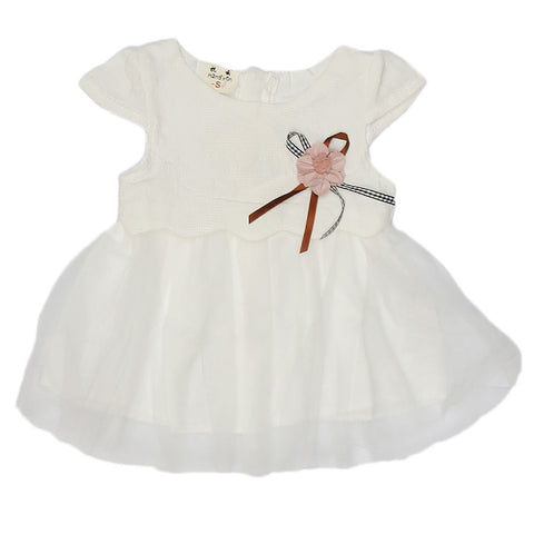 New Born Baby Frock - White
