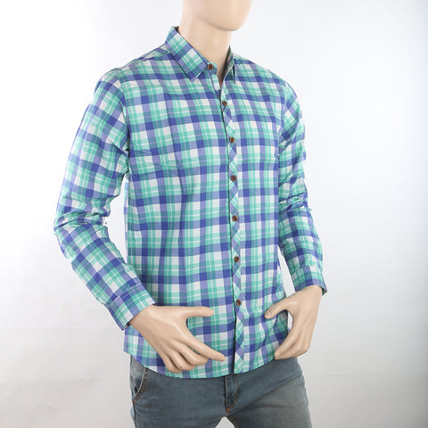 Men's Casual Check Shirt - Green