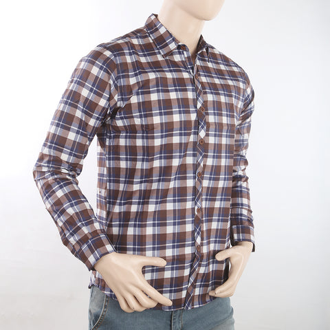 Men's Casual Check Shirt - Coffee