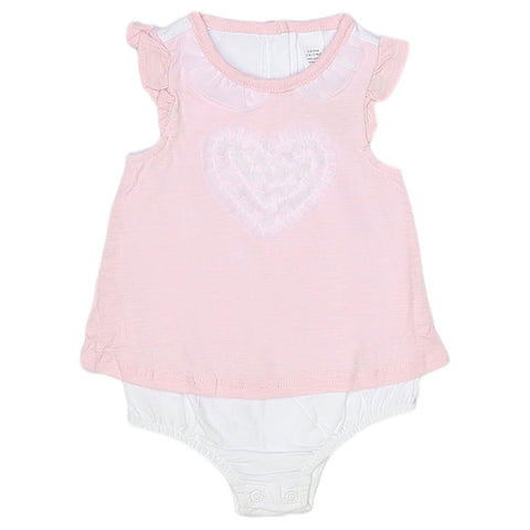 NewBorn Girls Romper Half Sleeves - Pink
