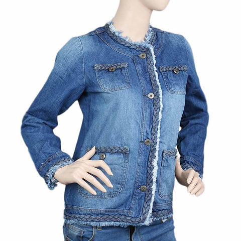 Women's Denim Full Sleeves Fancy Jacket - Blue