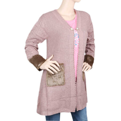 Eminent Full Sleeves Long Sweater For Women - Pink