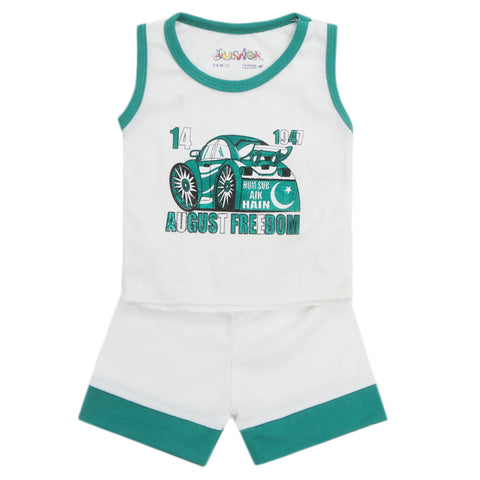 Newborn Sando Suit For 14th August - White