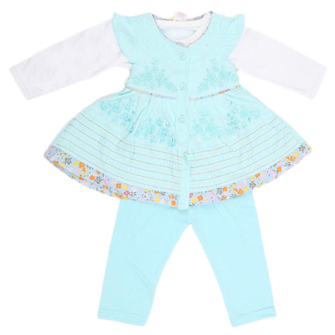 Newborn Girls Full Sleeves 3 Piece Suit - Cyan