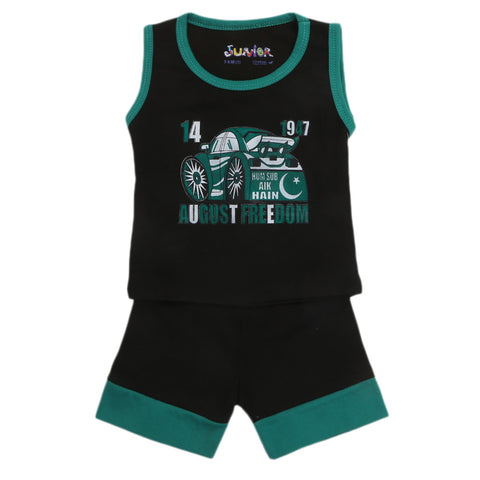 Newborn Sando Suit For 14th August - Black