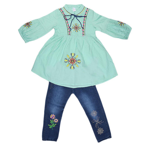 Girls Fancy Embroidery Suit 2 Pcs - Cyan