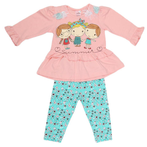 Girls Fancy Suit 2 Pcs - Light Pink