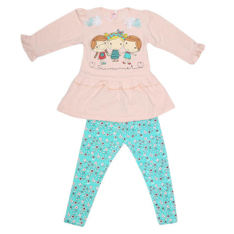 Girls Fancy Suit 2 Pcs - Peach