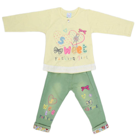 Girls Fancy Suit 2 Pcs - Yellow