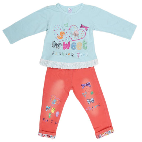 Girls Fancy Suit 2 Pcs - Light Blue