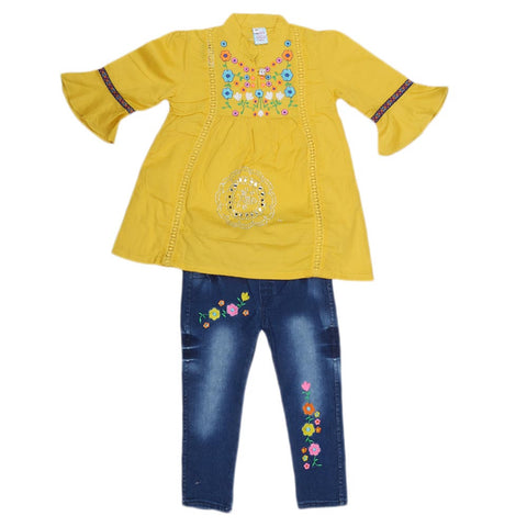 Girls Fancy Embroidery Suit 2 Pcs - Yellow