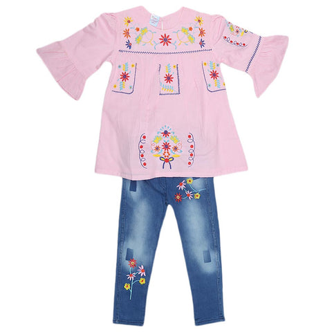Girls Fancy Embroidery Suit 2 Pcs - Pink