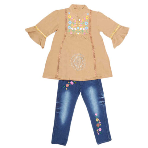 Girls Fancy Embroidery Suit 2 Pcs - Light Brown