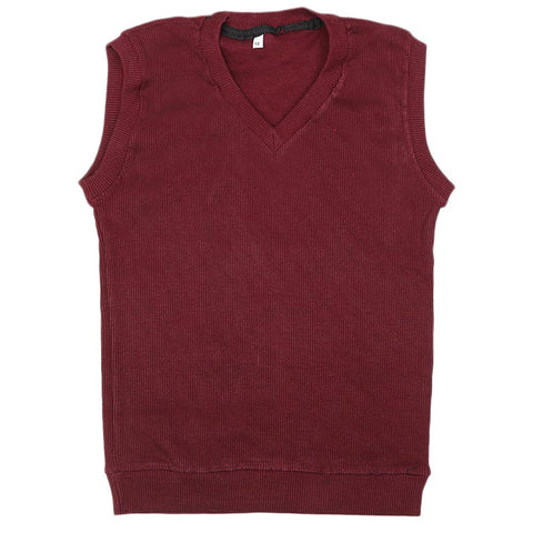 Boys Sleeveless Sweater - Maroon