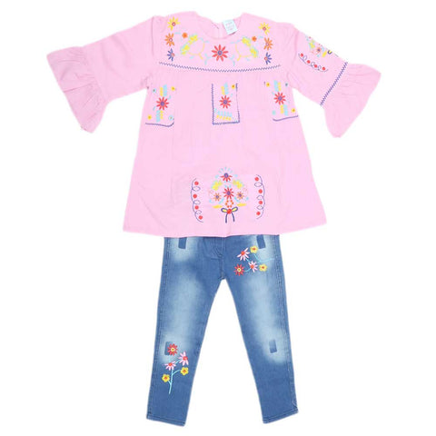 Girls Fancy Embroidery Suit 2 Pcs - Light Pink