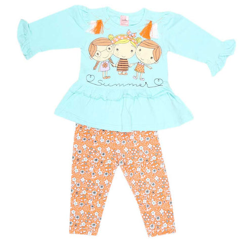Girls Fancy Suit 2 Pcs - Cyan