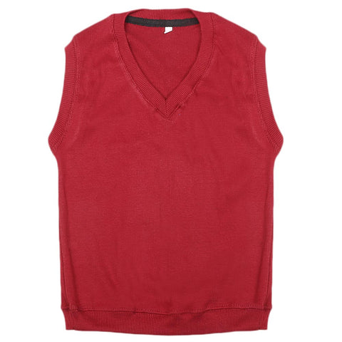 Boys Sleeveless Sweater - Red