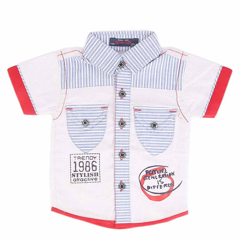 Newborn Half Sleeves Printed Shirt - Light Blue