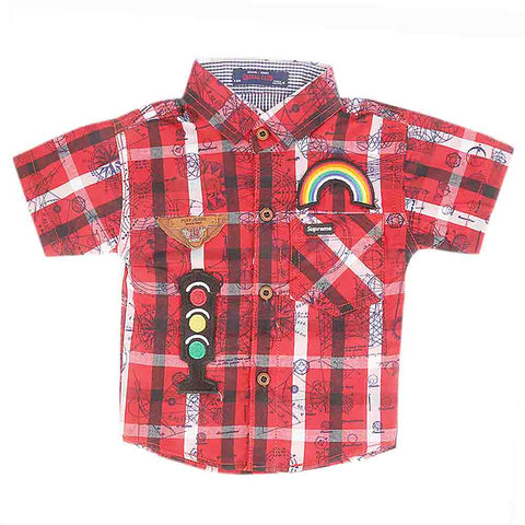 Newborn Half Sleeves Printed Shirt - Red