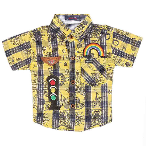 Newborn Half Sleeves Printed Shirt - Yellow