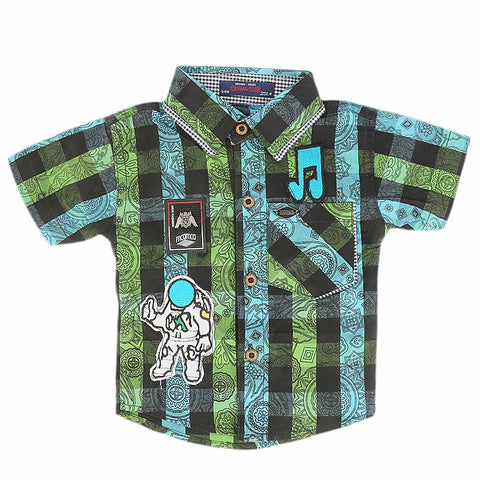 Newborn Half Sleeves Printed Shirt - Green