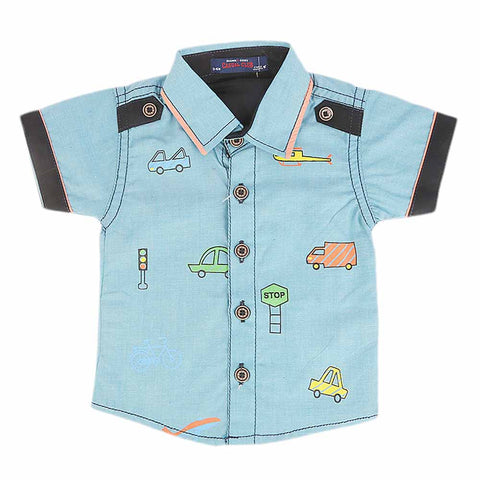 Newborn Half Sleeves Printed Shirt - Blue