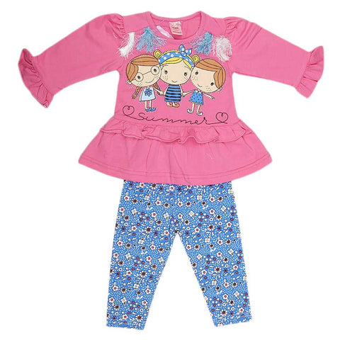 Girls Fancy Suit 2 Pcs - Pink