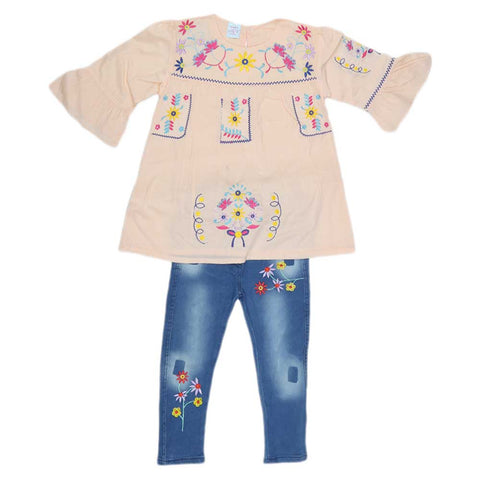 Girls Fancy Embroidery Suit 2 Pcs - Peach