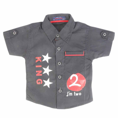 Newborn Half Sleeves Printed Shirt - Black
