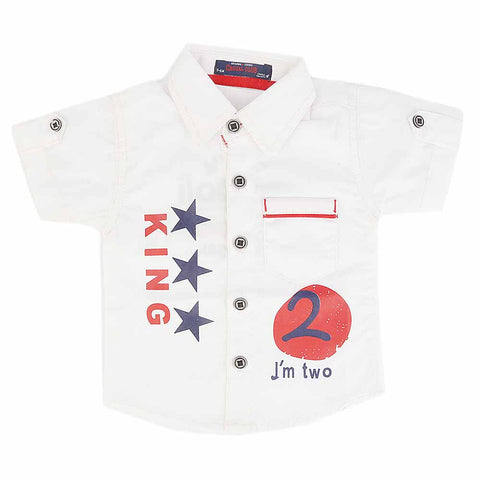 Newborn Half Sleeves Printed Shirt - White