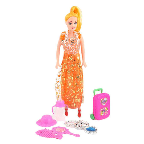 Fashion Doll 7 Pcs - Orange - test-store-for-chase-value