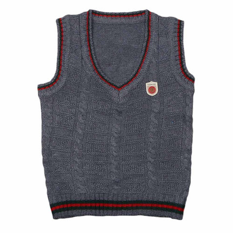Boys Sleeveless Sweater - Dark Grey