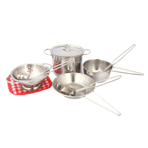 Kitchen Set For Kids 9 Pcs - Silver