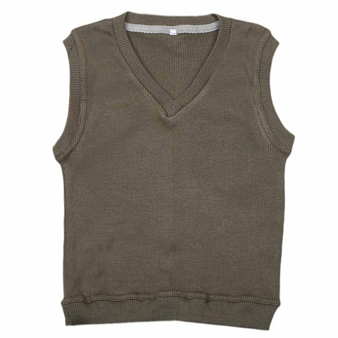 Boys Sleeveless Sweater - Olive Green