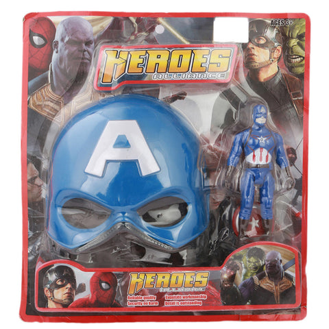 Super Hero Figure And Face Mask - Blue