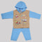 Newborn Boy Full Sleeves Polar Hooded Suit 1675 - Blue