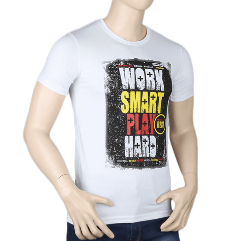Men's Printed T-Shirt - White - test-store-for-chase-value