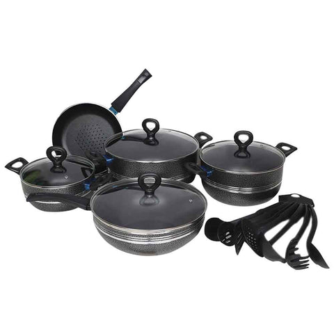 Great Chef Non-Stick Cooking Set 16 Pcs - Grey