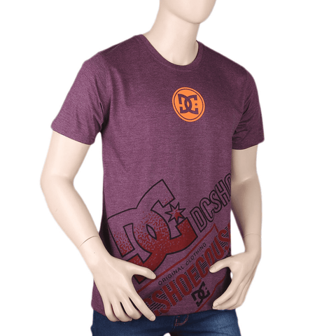 Men's Half sleeves Printed Round Neck T-Shirt - Purple