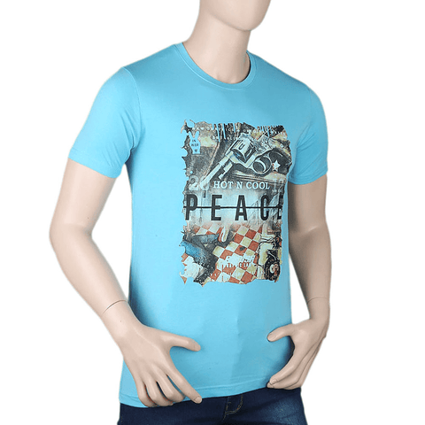 Men's Printed T-Shirt - Light Blue - test-store-for-chase-value