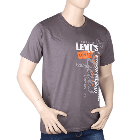 Men's Half sleeves Printed Round Neck T-Shirt - Grey