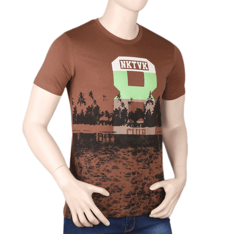 Men's Printed T-Shirt - Brown - test-store-for-chase-value